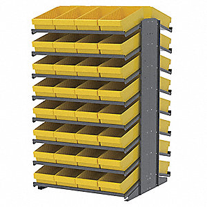 "Steel Pick Rack with 64 Bins, 39""W x 36-3/4""D x 60-1/4""H, Load Capacity: 1800 lb., Gray"