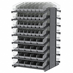 "Steel Pick Rack with 104 Bins, 39""W x 36-3/4""D x 60-1/4""H, Load Capacity: 1800 lb., Gray"