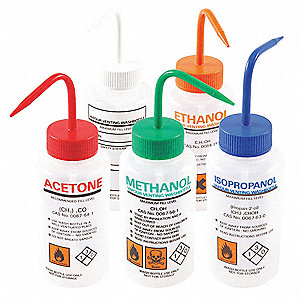 Wash Bottles Assorted Set, 5 PK, LDPE, Wide Mouth, Vented, Capacity: 500mL