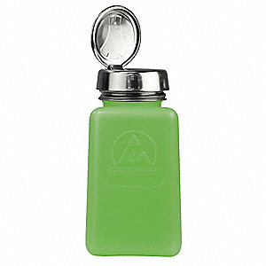 Wide Mouth Square Graduated Dispensing ESD Bottle, Dispensing, Plastic, 177.4mL, Green, 1 EA