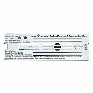 Carbon Monoxide and Gas Alarm with 85dB @ 10 ft., Horn Audible Alert&#x3b; 120VAC
