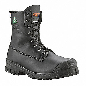 "8""H Men's Work Boots, Steel Toe Type, Microfiber Upper Material, Black, Size 9R"