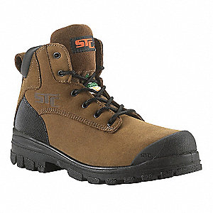 "6""H Men's Work Boots, Steel Toe Type, Nubuck Leather Upper Material, Brown, Size 12R"