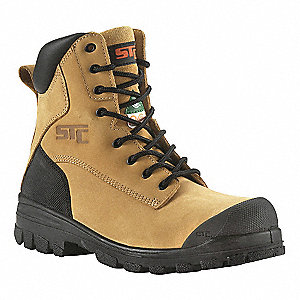 "8""H Men's Work Boots, Steel Toe Type, Nubuck Leather Upper Material, Wheat, Size 8-1/2R"