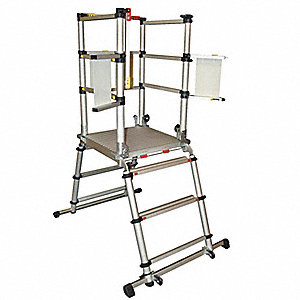 "Aluminum Telescopic Mobile Podium,  39"" Platform Height, 38"" Platform Width, 1000 lb. Load Capacity"