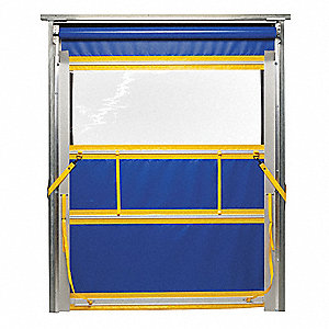 Blue with Yellow Trim Spring Assist Roll Up Under Header Mount Curtain Door 8 ft.W x 10 ft.H""