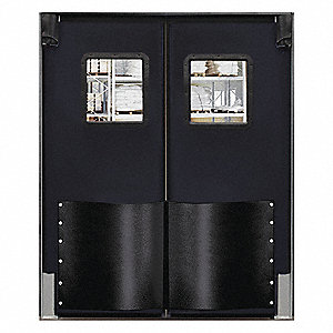 Polyethylene Swinging Door, Black; Number of Doors: 2, 6 ft.W x 7 ft.H