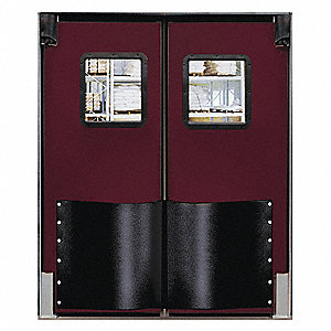 Polyethylene Swinging Door, Burgundy; Number of Doors: 2, 7 ft.W x 8 ft.H