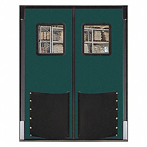 Polyethylene Swinging Door, Forest Green; Number of Doors: 2, 6 ft.W x 8 ft.H