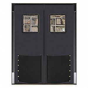 Polyethylene Swinging Door, Metallic Gray; Number of Doors: 2, 8 ft.W x 10 ft.H