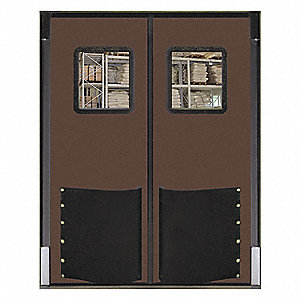 Polyethylene Swinging Door, Chocolate Brown; Number of Doors: 2, 6 ft.W x 7 ft.H
