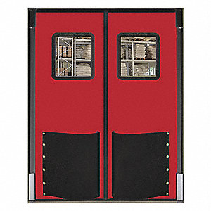 Polyethylene Swinging Door, Red; Number of Doors: 2, 5 ft.W x 8 ft.H