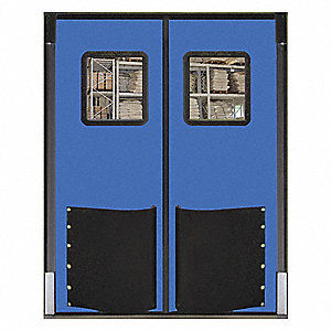 Polyethylene Swinging Door, Royal Blue; Number of Doors: 2, 7 ft.W x 8 ft.H