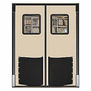 Polyethylene Swinging Door, Beige; Number of Doors: 2, 5 ft.W x 8 ft.H