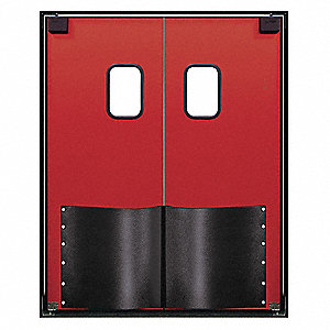 ABS Swinging Door, Red; Number of Doors: 2, 6 ft.W x 7 ft.H