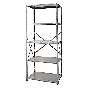"48"" x 24"" x 87"" Freestanding Cold Rolled Steel Shelving Unit, Gray"