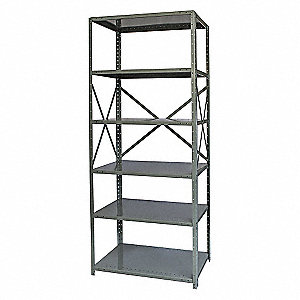 "Freestanding Open Metal Shelving, 36""W x 18""D x 87"" Load Cap., 6 Shelves, Dark Gray"