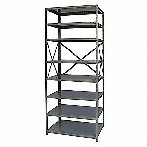 "Freestanding Open Metal Shelving, 48""W x 12""D x 87"" Load Cap., 8 Shelves, Dark Gray"