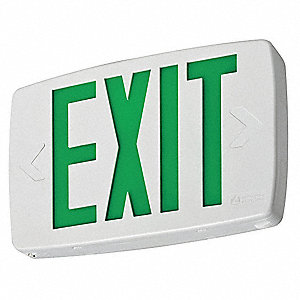 LED Exit Sign with Battery Backup, Black/White Housing Color, Thermoplastic Housing Material