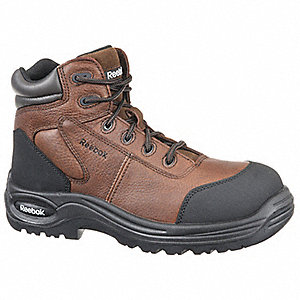 "6""H Men's Work Boots, Composite Toe Type, Leather Upper Material, Dark Brown, Size 4-1/2M"