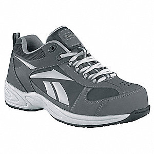 Men's Athletic Style Work Shoes, Composite Toe Type, Leather Upper Material, Gray, Size 6M