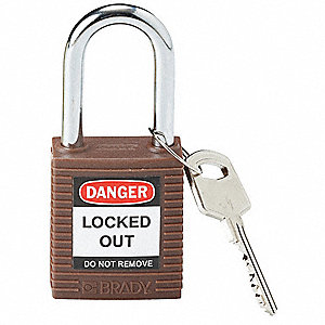 Brown Lockout Padlock, Different Key Type, Master Keyed: No, Thermoplastic Body Material