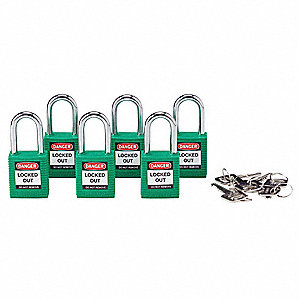 Green Lockout Padlock, Alike Key Type, Thermoplastic Body Material, 6 PK