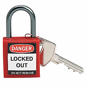 Red Lockout Padlock, Different Key Type, Master Keyed: No, Thermoplastic Body Material
