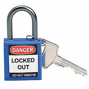 "Lockout Padlock,KD,Blue,1-2/5""H"