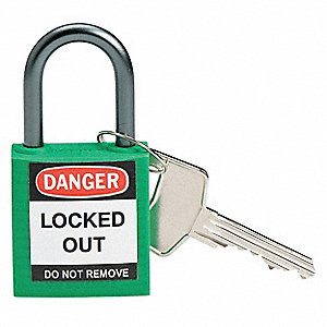 Green Lockout Padlock, Alike Key Type, Thermoplastic Body Material, 3 PK