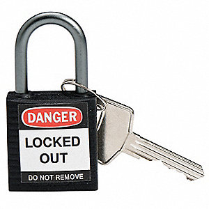 Black Lockout Padlock, Different Key Type, Thermoplastic Body Material