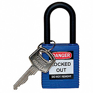 Blue Lockout Padlock, Different Key Type, Thermoplastic Body Material, 1 EA