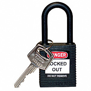 Black Lockout Padlock, Different Key Type, Master Keyed: No, Thermoplastic Body Material