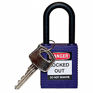Purple Lockout Padlock, Different Key Type, Master Keyed: No, Thermoplastic Body Material