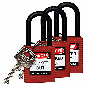 Red Lockout Padlock, Alike Key Type, Thermoplastic Body Material, 3 PK