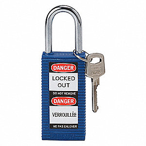Blue Lockout Padlock, Different Key Type, Master Keyed: No, Thermoplastic Body Material