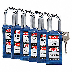 Blue Lockout Padlock, Different Key Type, Thermoplastic Body Material, 6 PK