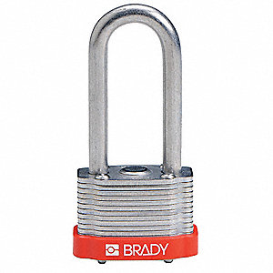 "Alike-Keyed Padlock, Extended Shackle Type, 2"" Shackle Height, Red"