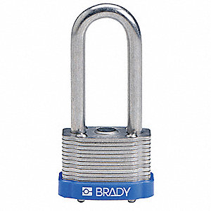 "Alike-Key Retaining Steel Padlock, Extended Shackle Type, 2"" Shackle Height, Blue"