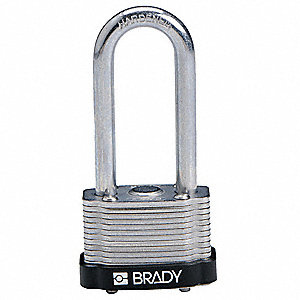 "Different-Keyed Padlock, Extended Shackle Type, 2"" Shackle Height, Black"