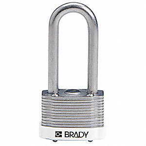 "Alike-Keyed Padlock, Extended Shackle Type, 2"" Shackle Height, White"