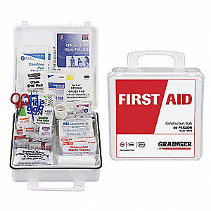 First Aid Kit,Bulk,White,204 Pcs,50 Ppl