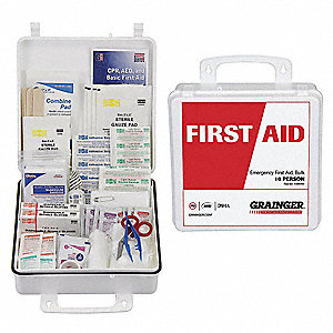 First Aid Kit, Kit, Plastic Case Material, General Purpose, 10 People Served Per Kit