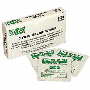 "Sting Relief Wipes, 3 x 1-7/8"" Packet"