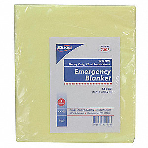 Emergency Blanket,Yellow,54In x 80In