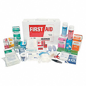 First Aid Kit, Kit, Steel Case Material, General Purpose, 200 People Served Per Kit