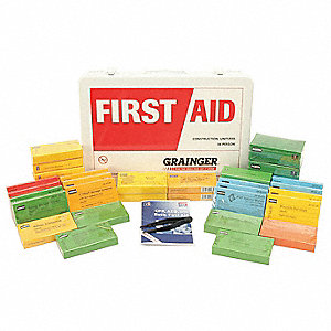 First Aid Kit, Kit, Steel Case Material, General Purpose, 36 People Served Per Kit