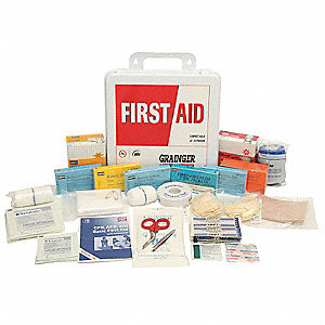 First Aid Kit,Unitized,White,24Pcs,50Ppl