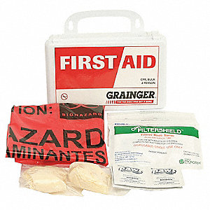 First Aid Kit, Kit, Polystyrene Case Material, General Purpose, 2 People Served Per Kit