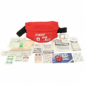 First Aid Kit, Kit, Nylon Case Material, General Purpose, 3 People Served Per Kit